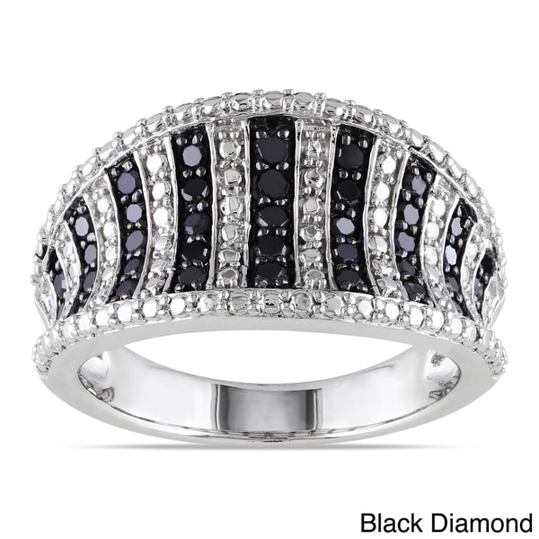 Miadora Sterling Silver 1/2ct TDW Black or Blue Diamond Ring 10493609
