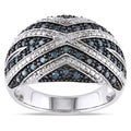 Miadora Sterling Silver 1/2ct TDW Blue Diamond Ring
