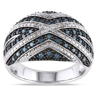 Miadora Sterling Silver 1/2ct TDW Blue Diamond Ring