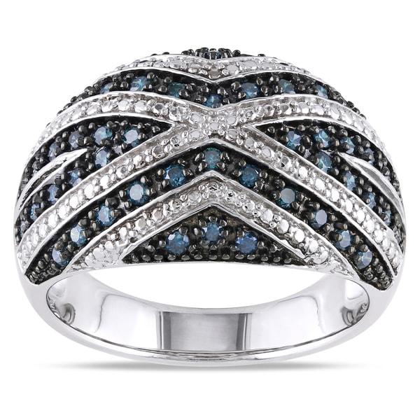 Miadora Sterling Silver 1/2ct TDW Blue Diamond Fashion Statement Ring