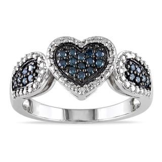 Miadora Sterling Silver 1/4ct TDW Blue Diamond Heart Ring