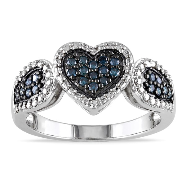 Haylee Jewels Sterling Silver 1/4ct TDW Blue Diamond Heart Ring