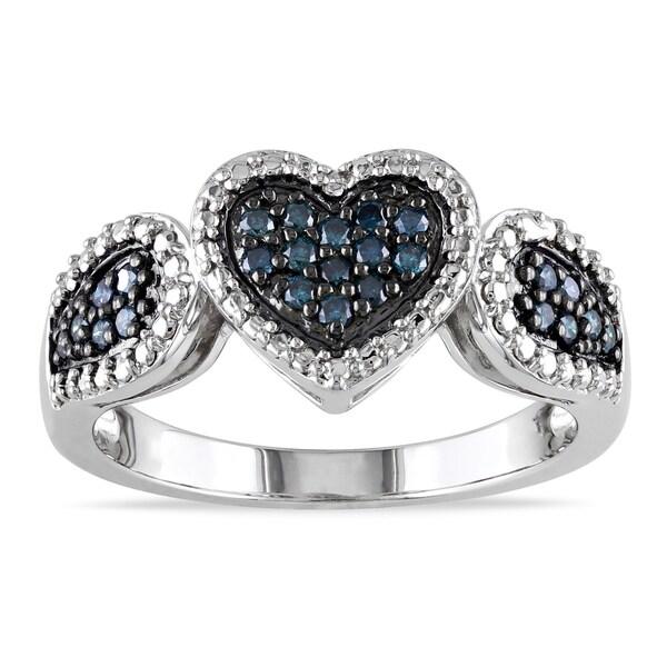 Miadora Sterling Silver 1/4ct TDW Blue Diamond Heart Ring