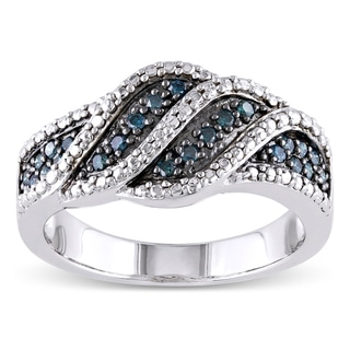 Haylee Jewels Sterling Silver 1/4ct TDW Blue Diamond Ring