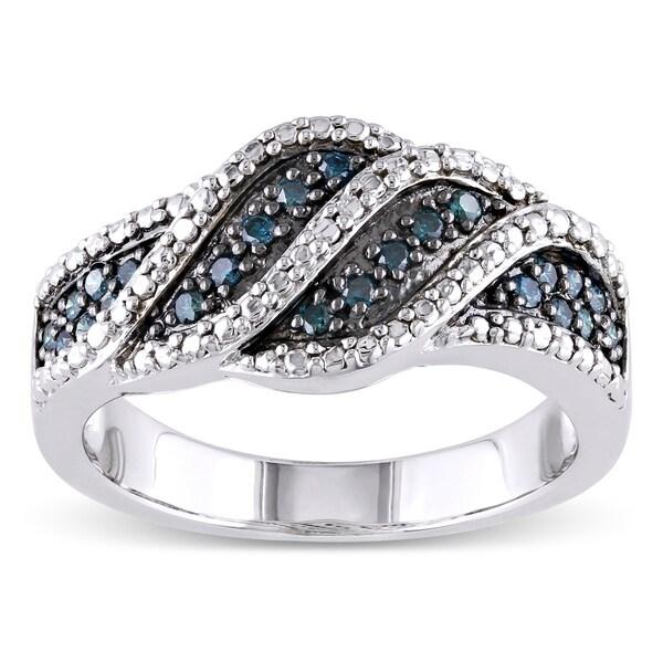 Haylee Jewels Sterling Silver 1/4ct TDW Blue Diamond Ring