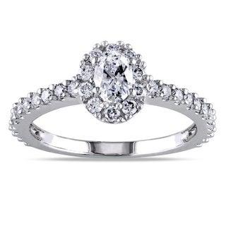 Miadora 14k White Gold 1ct TDW Oval Halo Diamond Ring (G-H, I1-I2)