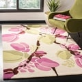Handmade Soho Floral Ivory New Zealand Wool Rug