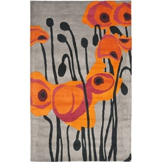 Handmade Elegance Grey/ Orange New Zealand Wool Rug (7'6 x 9'6)