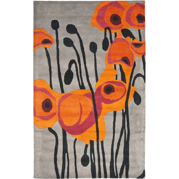 Safavieh Handmade Elegance Grey/ Orange New Zealand Wool Rug (7'6 x 9'6)