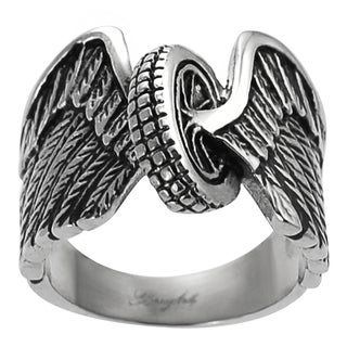 Vance Co. Men's Stainless Steel Casted Winged Wheel Ring