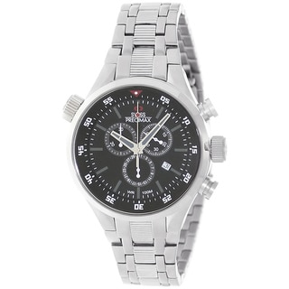 Swiss Precimax Men's Torin Pro SP12120 Silvertone Black Dial Swiss Chronograph Watch
