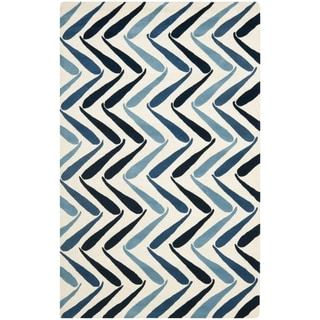 Handmade Soho Ivory/ Blue New Zealand Wool Rug