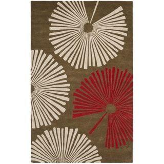 Handmade Soho Fans Brown New Zealand Wool Rug