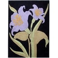 Handmade Lily Black/ Purple New Zealand Wool Rug