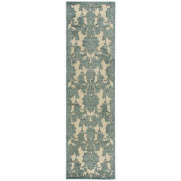 Graphic Illusions Damask Teal Rug Runner 2 3 X 8