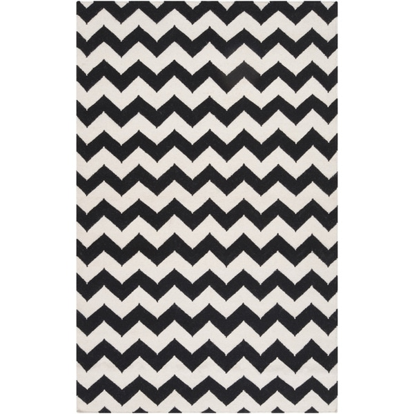 Hand-woven Torre Jet Black Wool Rug (5' x 8')