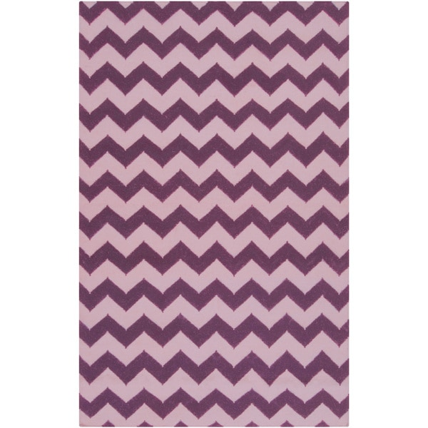 Hand-woven Greco Pink Wool Rug (5' x 8')
