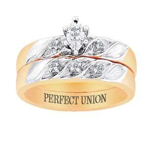 18k Gold over Sterling 2 Piece Diamond Engraved 'Perfect Union' Bridal Set