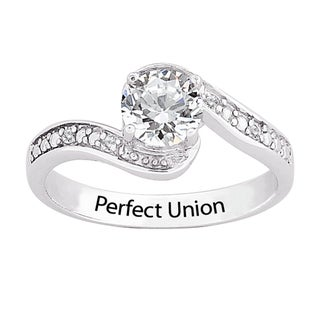 Sterling Silver Genuine White Topaz & Diamond Engraved 'Perfect Union' Promise Ring