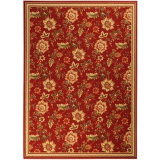 Printed Ottohome Floral Burgundy Runner Rug (3'3 x 4'6)