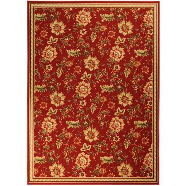 Ottomanson Printed Ottohome Floral Burgundy Runner Rug (3'3 x 4'6)