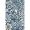 Handmade Floral Paisley Blue New Zealand Wool Rug