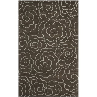 Handmade Soho Roses Brown New Zealand Wool Rug