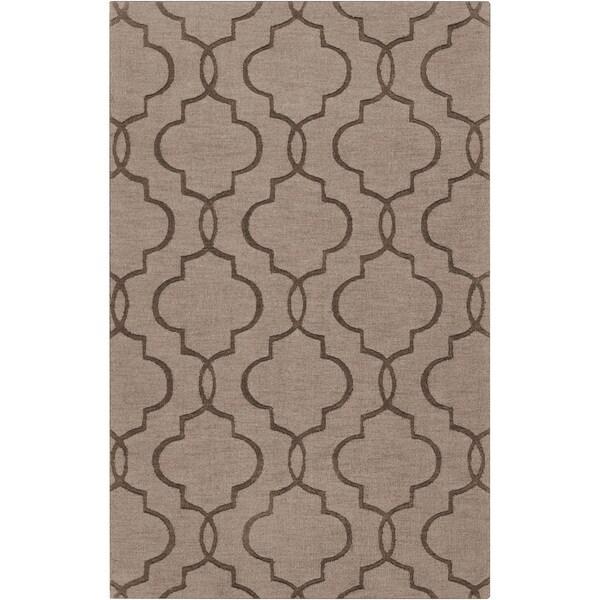 Hand-crafted Montecelio Brown Geometric Lattice Wool Rug (8' x 11')