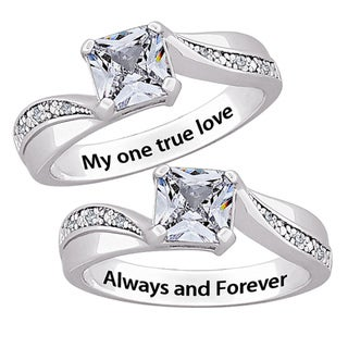 Silver CZ and Diamond Engraved 'My one true love' or 'Always and Forever' Ring
