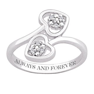 Sterling Silver Diamond Heart Engraved 'Always and Forever' Ring