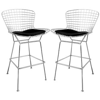 Baxton Studio 'Tomkin' Mesh Bar Stools with Leatherette Seat Pad (Set of 2)
