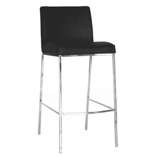 Baxton Studio 'Oakton' Black Leather Bar Stools (Set of 2)