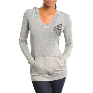 Stanzino Women's Gray Peace Emblem Hooded Sweater