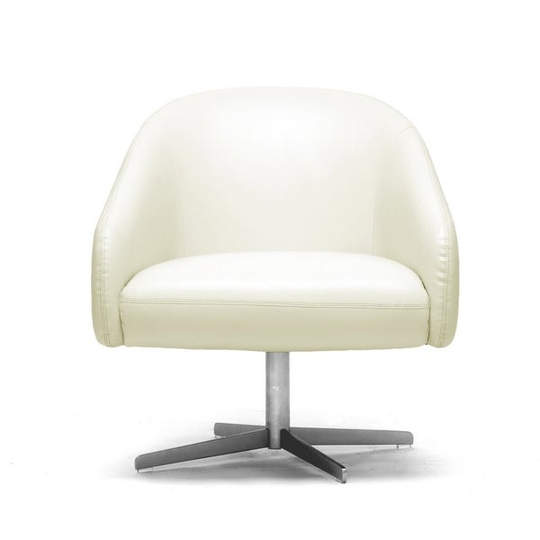 Baxton studio balmorale ivory leather modern swivel chair 15039144