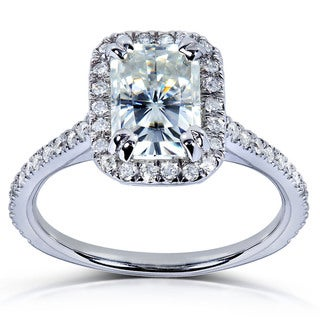 14k Gold Radiant-cut Moissanite and 1/4ct TDW Round-cut Diamond Engagement Ring (G-H, I1-I2)