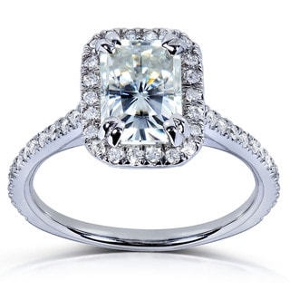 14k Gold Radiant-cut Moissanite and 1/4ct TDW Diamond Engagement Ring (G-H, I1-I2)