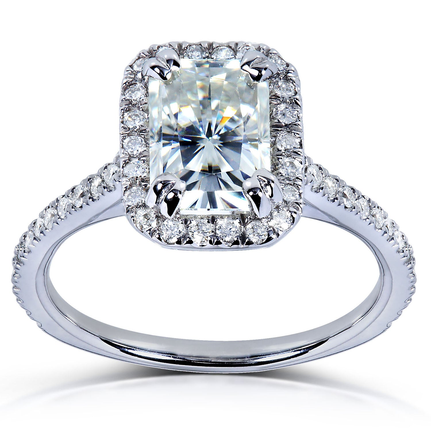 14k Gold Radiant-cut Moissanite and 1/4ct TDW Diamond Engagement Ring (G-H, I1-I2) at Sears.com