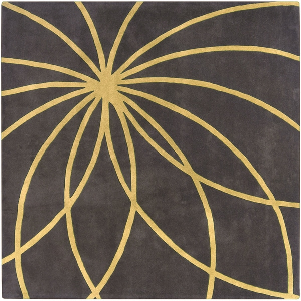 Hand Tufted Massal Charcoal Floral Wool Rug 8 Square