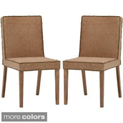 Cuba Brown Microfiber Modern Dining Chairs (Set of 2)