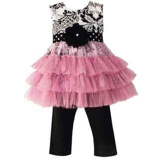 AnnLoren Girls Damask Dots & Tulle Outfit
