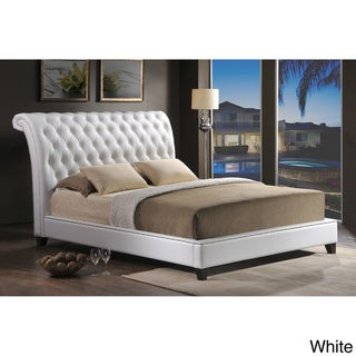 Jazmin Tufted White Modern Bed with Upholstered Headboard