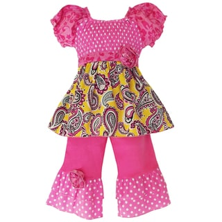 AnnLoren Girls Smocked Paisley/ Polka Dots Outfit