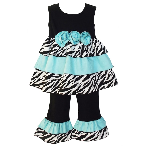 AnnLoren Girls Zebra Blue Rose Rumba Outfit