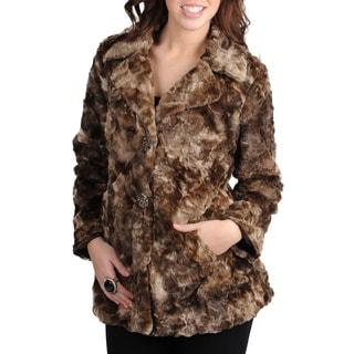 Mo-Ka Women's Brown Faux Fur Jacket