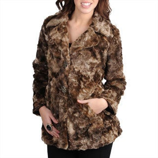 Mo-Ka Women's Brown Faux Fur Jacket