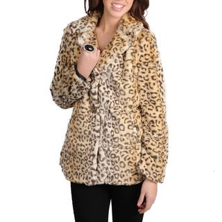 Mo-Ka Women's Leopard Print Faux Fur Jacket