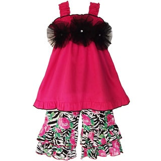 AnnLoren Girls Zebra Rose Capri Outfit