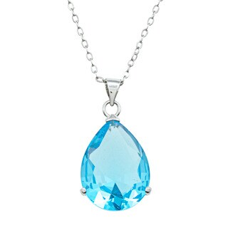 City by City City Style Silvertone Pear-cut Blue Topaz Solitaire Necklace