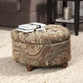 Button Tufted Round Storage Ottoman Brown and Tel Paisley