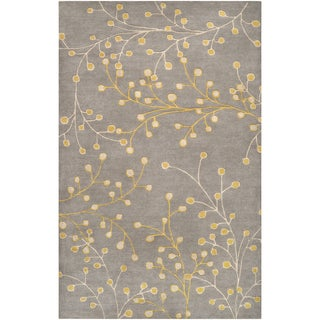 Hand-tufted Grey Mirada Floral Wool Rug (2' x 3')